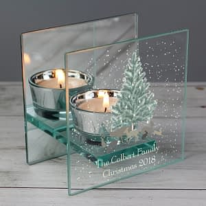 Personalised A Winter's Night Mirrored Glass Tea Light Candle Holder