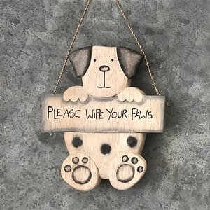Hanging Dog Please Wipe Your Paws Plaque