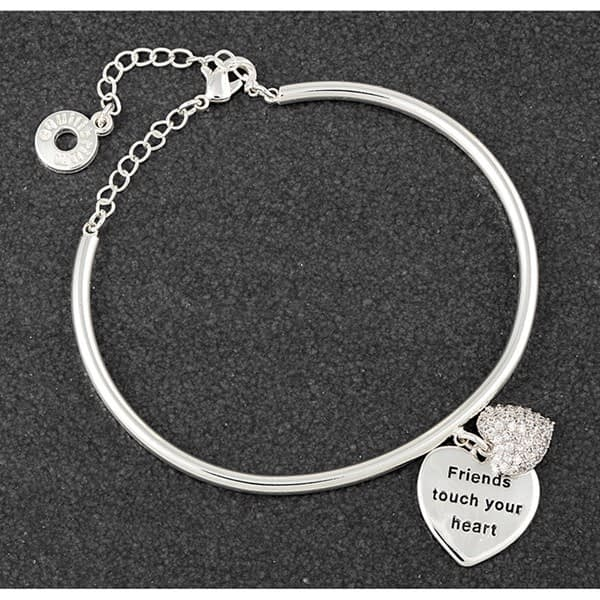Hanging Heart Platinum Plated Bangle Friends