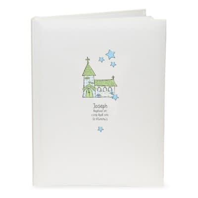 Personalised Whimsical Church Blue Traditional Album