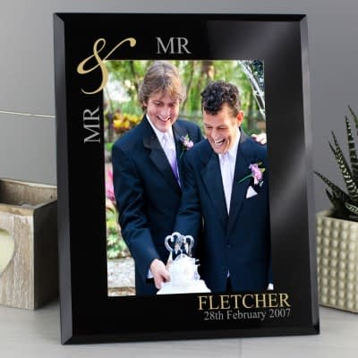 Personalised Gold Couples 7x5 Black Glass Photo Frame