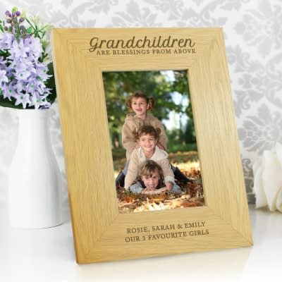 """Personalised """"""""Grandchildren Are A Blessing"""""""" 6x4 Oak Finish Photo Frame"""