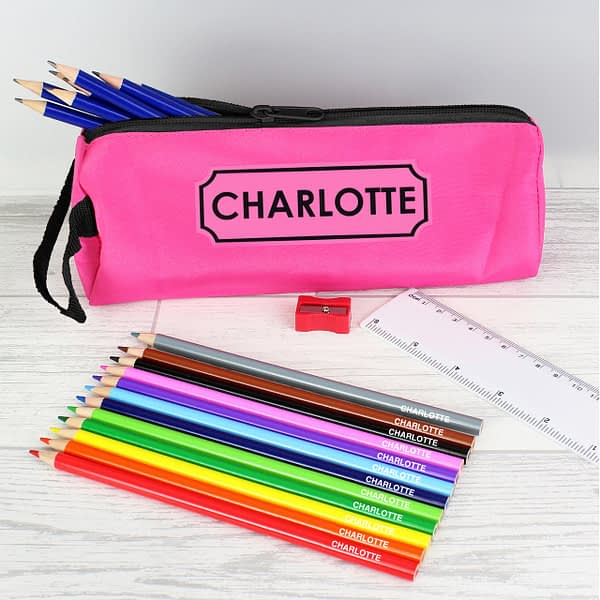 Pink Pencil Case with Personalised Pencils & Crayons
