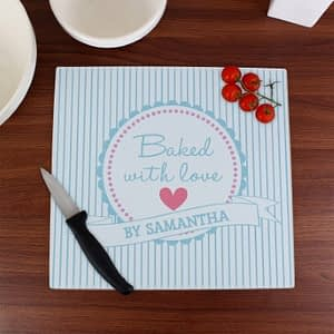 Personalised Baked With Love Glass Chopping Board/Worktop Saver