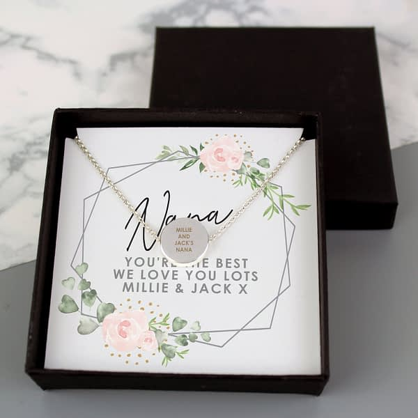 Personalised Abstract Rose Sentiment Silver Tone Necklace and Box