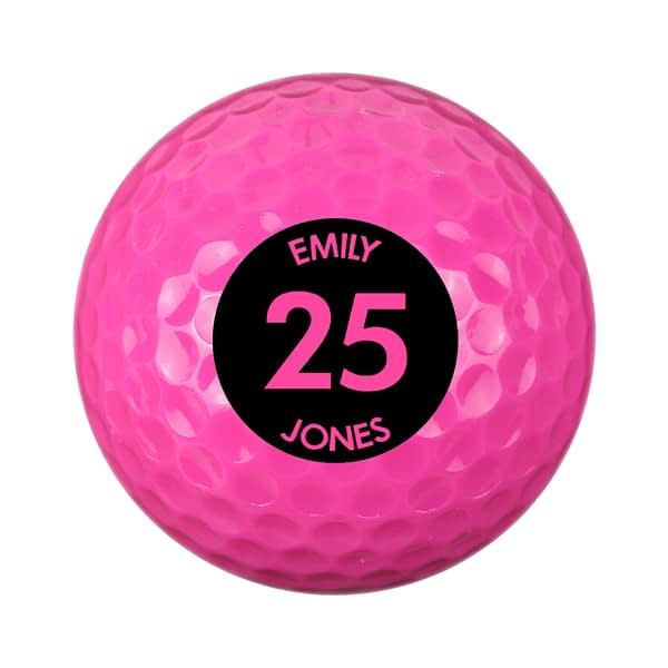 Personalised Big Age Pink Golf Ball