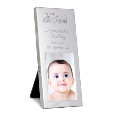 Personalised Train Small 3x2 Silver Photo Frame