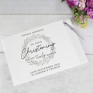 Personalised 'Truly Blessed' Christening Hardback Guest Book & Pen