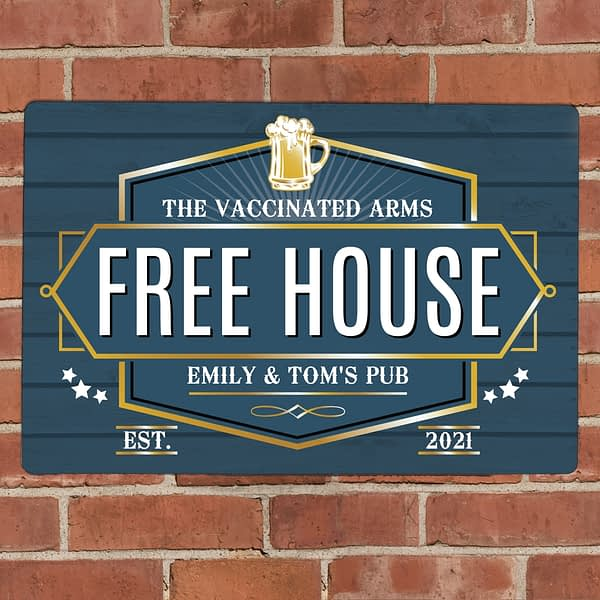 Personalised Free House Blue Metal Sign