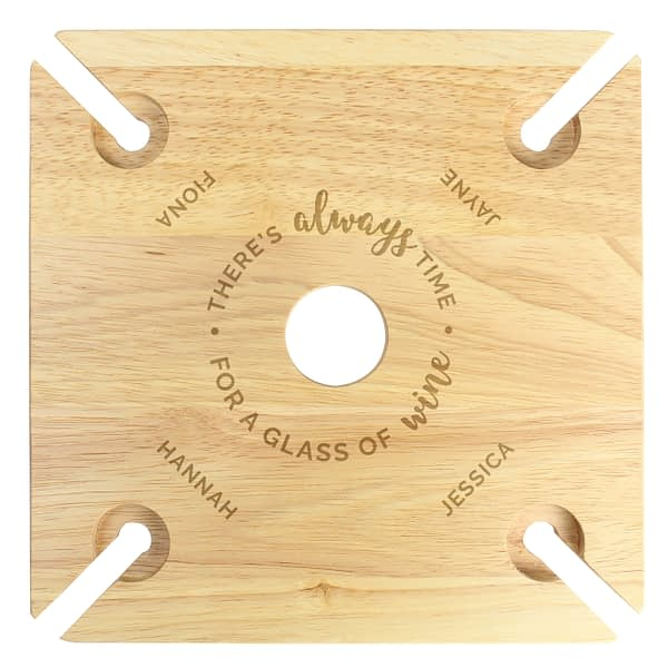 Personalised ...Time For a Glass of Wine Four Wine Glass Holder & Bottle Butler