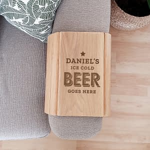 Personalised Beer Goes Here Wooden Sofa Tray