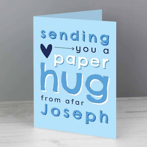 Personalised Blue Hug From Afar Card