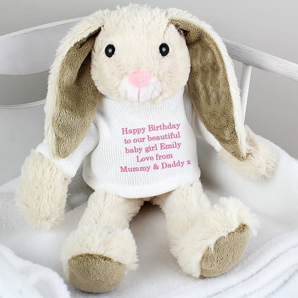 Personalised Message Bunny Rabbit In Jumper - Pink