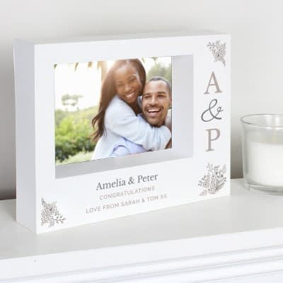 Personalised Couples Initials 7x5 Landscape Box Photo Frame