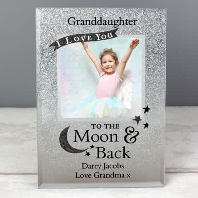 Personalised To the Moon and Back 4x4 Glitter Glass Photo Frame